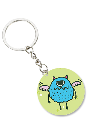 Angry Owl Round Shape Keychain