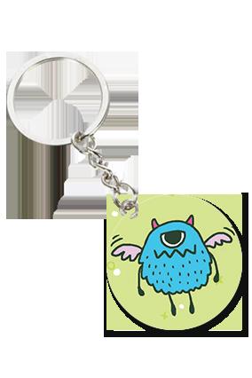 Angry Owl Round Shape Keychain