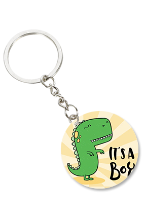 It's a Boy Round Shape Key chain