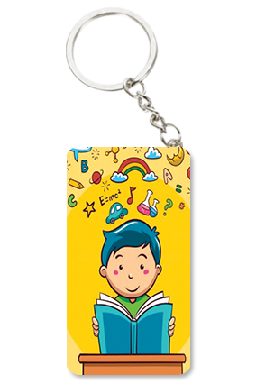 Study Time Small Rectangle Key Chain