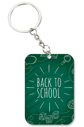 Back to School Big Rectangle Key Chain