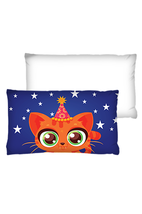 Birthday Kitten Rectangular Shape White Cushions