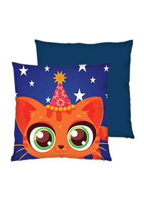 Little Cat Birthday Polyester Square Shape Navy Blue Cushion