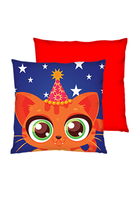 Birthday Kitten Polyester Square Red Cushions