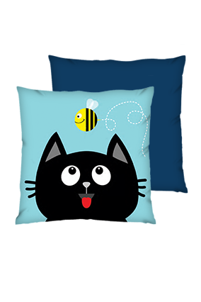 Black Cat Polyester Square Shape Navy Blue Cushions