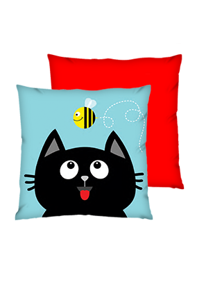 Black Cat Polyester Square Red Cushions