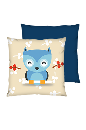 Little Bird Polyester Square Shape Navy Blue Cushions