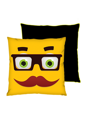 Moustache Uncle Square Black With Yellow Piping Cushions