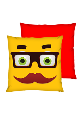 Moustache Uncle Polyester Square Red Cushions