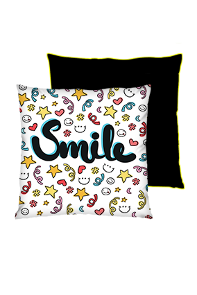 Just Smile Square Black With Yellow Piping Cushions