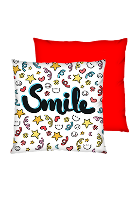 Just Smile Polyester Square Red Cushions