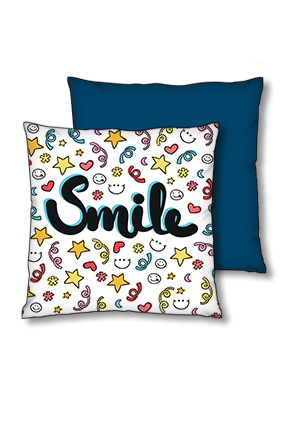Just Smile Polyester Square Navy Blue With Red Piping Cushions