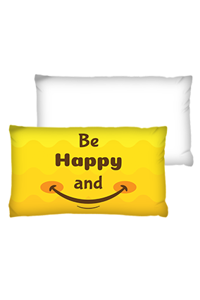 Be Happy And Smile Rectangular Shape White Cushions