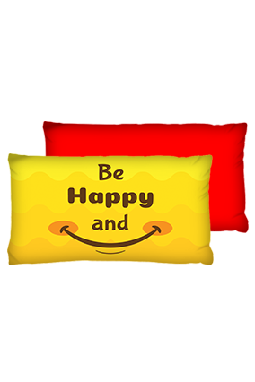 Be Happy And Smile Rectangular Shape Red Cushions