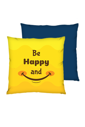 Be Happy And Smile Polyester Square Shape Navy Blue Cushions