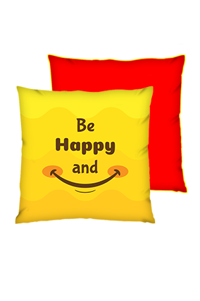 Be Happy And Smile Square Red With Yellow Piping Cushions