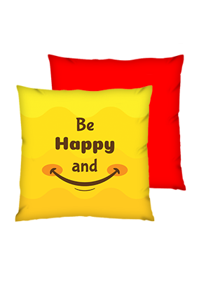 Be Happy And Smile Polyester Square Red Cushions