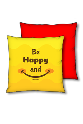 Be Happy And Smile Polyester Square Red With Black Piping Cushions