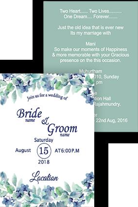 Eye Catching Peaceful flowers Portrait Wedding Invitation Card