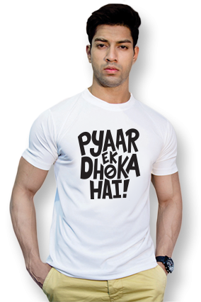Effit Pyar Ek Dhoka Round Neck White Mega Print T-Shirt