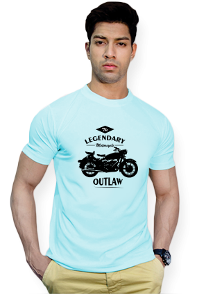 Effit Legendary Bike Rider Round Neck Sky Blue Mega Print T-Shirt