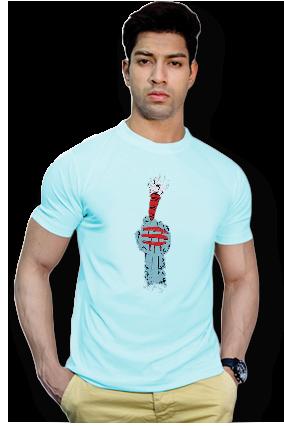Effit Jai Bhole Nath Round Neck Sky Blue Mega Print T-Shirt