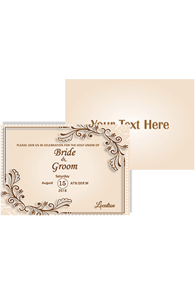 Customized Bright Beige Shading Landscape Wedding Invitation Card