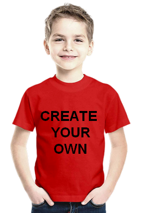 160GSM - Create Your Own Red Round Neck Cotton Half Seeve Kids T-Shirt