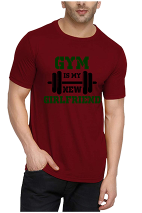 GYM Is My New Girl Friend Red Round Neck Drifit Dot Net Sports Half Sleeve Men T-Shirt
