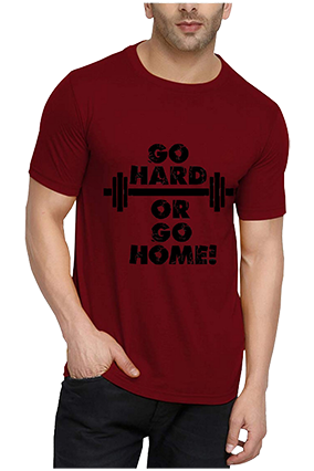 Go Hard Or Go Home Red Round Neck Drifit Dot Net Sports Half Sleeve Men T-Shirt