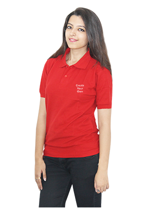 Printed Create Your Own Red Cotton Girl Polo T-Shirt