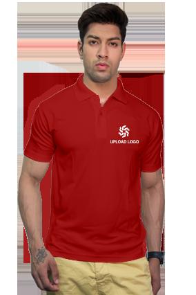 160GSM - Create Your Own Red Collar Spun Matty T-Shirt