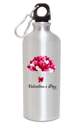 Heart Balloons Glam 600ml Silver Valentine's Day Sippers
