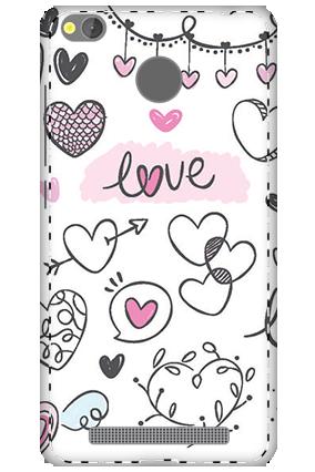 3D - Xiaomi Redmi 3S Prime Pure White Love Mobile Covers