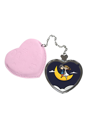 Love Till Moon Heart Hand Mirror With Leather Case