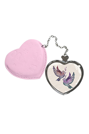 Favorite Love Birds  Heart Hand Mirror With Leather Case