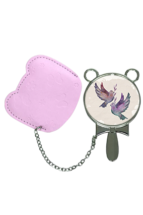 Special Love Birds With Pouch Cover  Hand Mirror With Leather Case
