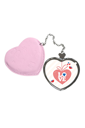 Love Forever Heart Hand Mirror With Leather Case