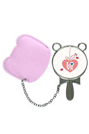 Decent Love Mirror With Pouch Cover Hand Mirror With Leather Case