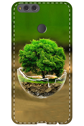 3D - Huawei Honor 7X Abstract Tree Pot Design Mobile Cover