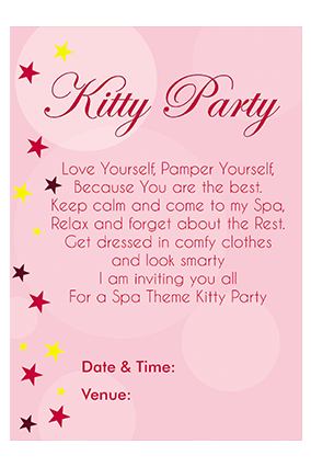 Buy personalized kitty party invitation cards online in india with colorful stars invitation card stopboris Image collections