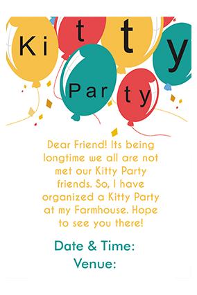 Baloons Kitty Party Invitation Card