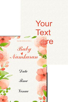 Peach Floral Namkaran Invitation Card