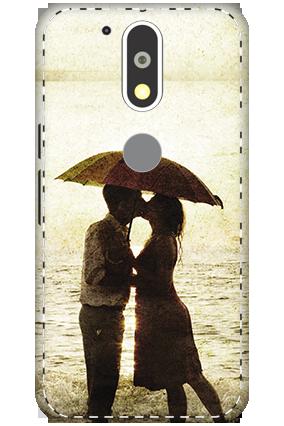 3D - Motorola Moto G4 Plus White High Grade Plastic Lovely Couple Mobile Cover