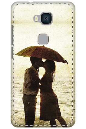 3D - Huawei Honor 5X White High Grade Plastic Lovely Couple Mobile Cover