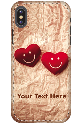 Personalized 3D-Apple iPhone X White High Grade Plastic Smiley Heart Mobile Cover