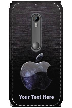 3D - Motorola Moto G3 White High Grade Plastic Black Apple  Mobile Cover