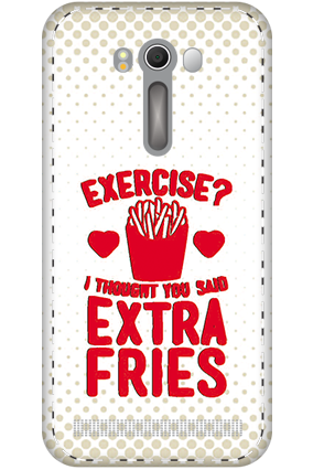 Personalized 3D-Asus ZenFone 2 Laser ZE500KL White High Grade Plastic Extra Fries Mobile Cover