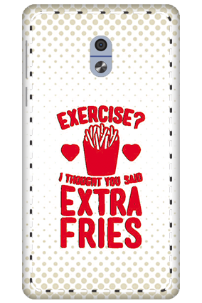 3D - Nokia 3 White High Grade Plastic Extra Fries Mobile Cover