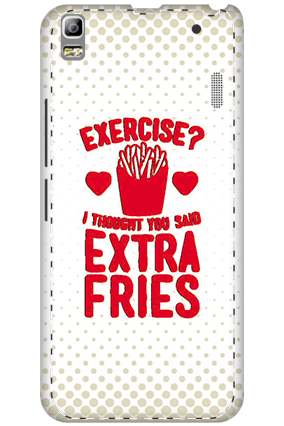 3D - Lenovo A7000 White High Grade Plastic Extra Fries Mobile Cover